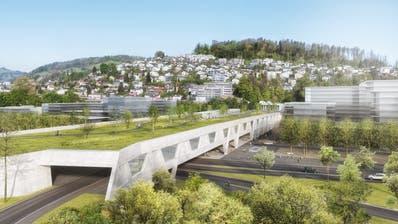 Die geplante Überdachung des Bypass-Portals in Kriens. Die Stadt fordert, dass sich der Bund an weiteren Überdachungen beteiligt. (Visualisierung: PD)