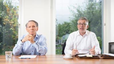 Die FCL-Aktionäre Hans Schmid (links) und Marco Sieber. (Bild: Matthias Jurt (Luzern, 23. Oktober 2019))