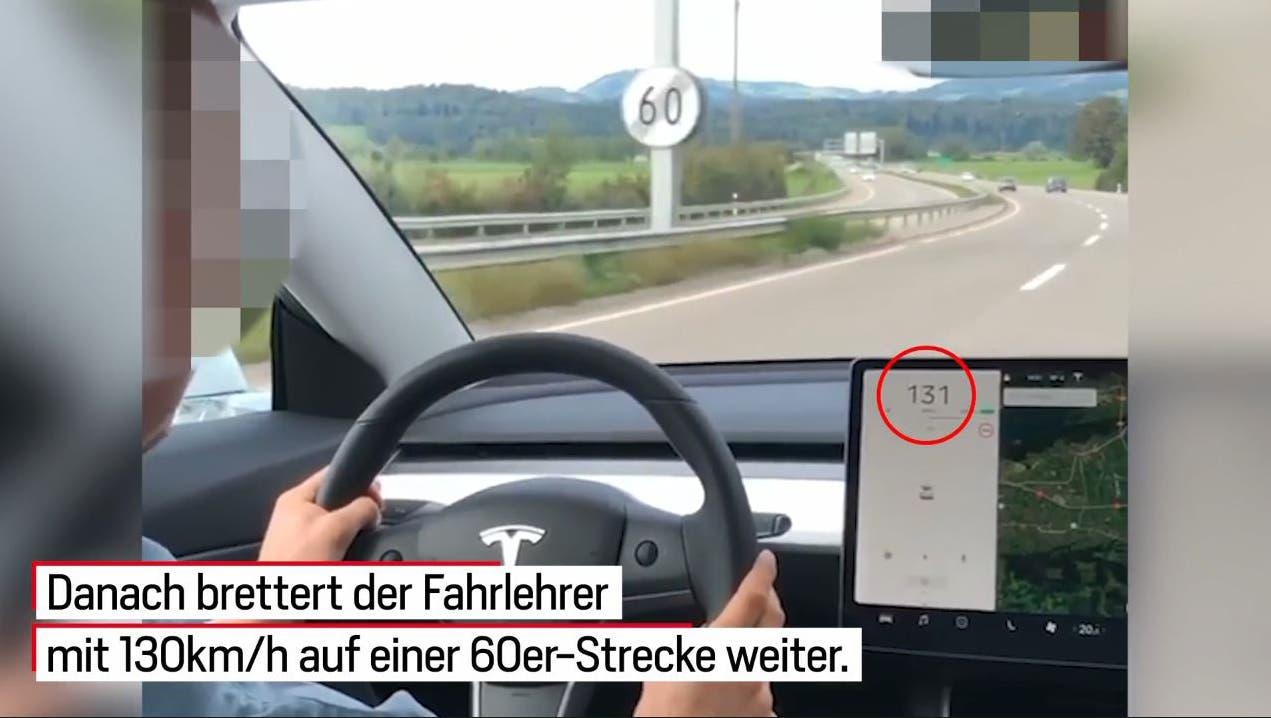 Der mutmassliche Raser war in einer Kurve mit über 130 km/h statt der erlaubten 60 km/h unterwegs. Dabei liess der Fahrlehrer sich filmen und postete das Video auf Instagram. Als der «Blick» den Mann kontaktiert, zeigt dieser sich selber bei der Stadtpolizei St.Gallen an . (Bild: Screenshot «Blick»)