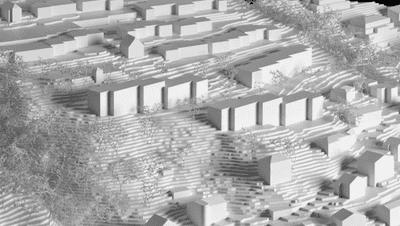 Das Areal Weinhalde in Kriens mit den geplanten drei Neubauten in derBildmitte. (Visualisierung: PD)