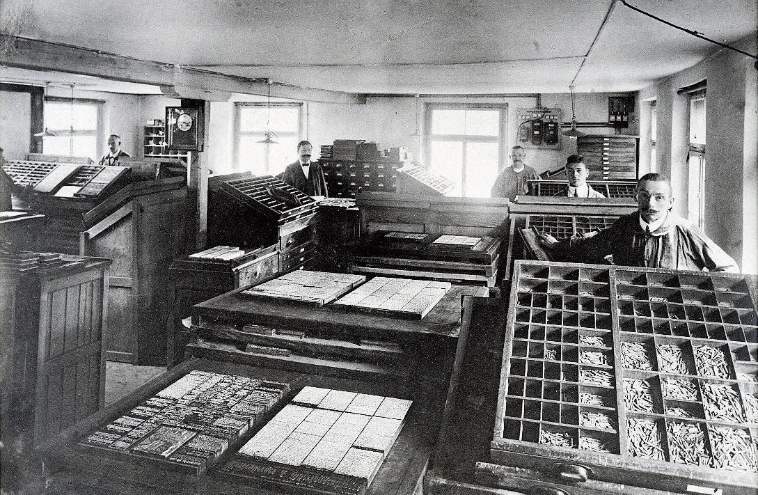 Der alte Setzersaal um 1906.