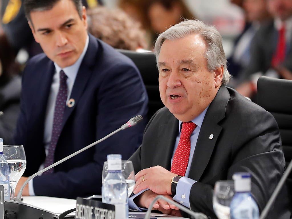 Uno-Generalsekretär António Guterres hat im Kampf gegen den Klimawandel am Mittwoch am Klimagipfel in Madrid mahnende Worte an die Weltgemeinschaft gerichtet.