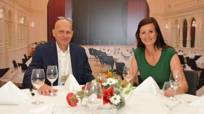Der Kursaal war auch zu Gast an der Iheimisch: Thomas Dittrich, Direktor Palace Engelberg Titlis (links) und Susanne Calligaris, Geschäftsführerin Kursaal Engelberg AG, am Stand. (Bild: Matthias Piazza (31. Mai 2019))