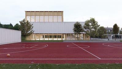 Die beiden übereinander liegenden Hallen, der Allwetterplatz und die optionaldritte Halle (rechts im Bild). ((Visualisierung: PD))
