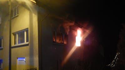 Feuer lodern im Innern der Wohnung. (Bild: PD/Kantonspolizei Thurgau)