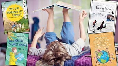 Für den Schülerstreik zu jung, nicht aber fürs Kinderbuch über den Klimawandel: Vier Bücher zeigen den Erwachsenen von morgen auf, was sie tun könnten. (Bild: Getty/Montage / CH Media)