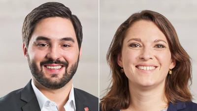 Cédric Wermuth und Mattea Meyer kandidieren gemeinsam für das Präsidium der SP. (Bilder: Keystone)
