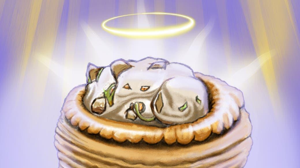 Er rief: «Ach du heilige Pastete!» (Illustration: Tiemo Wydler.)