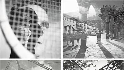 Fotografien des «Neuen Sehens» von Hans Potthof. Oben links: «En face et profil, um 1936; oben rechts: Ascona, um 1937 (Doppelbelichtung); unten links: Glockenturm (Landesausstellung Zürich), 1939; unten rechts: Weltausstellung Paris, 1937. (Bilder: Georg Hilbi/Nachlass Hans Potthof)