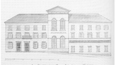 Das StadttheaterZug wird 1843 eröffnet und 1904 aus Sicherheitsgründen geschlossen. Heute steht an dieser Stelle das kantonale Verwaltungsgebäude am unteren Postplatz. (Bild: Zuger Neujahrsblatt)