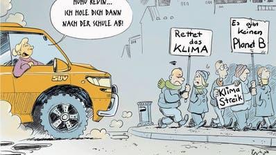 Cartoonisten zeigen Widersprüche auf: Weltweit streiken die Schüler fürs Klima. (Cartoon: Gabriel Giger, «Walliser Bote»)