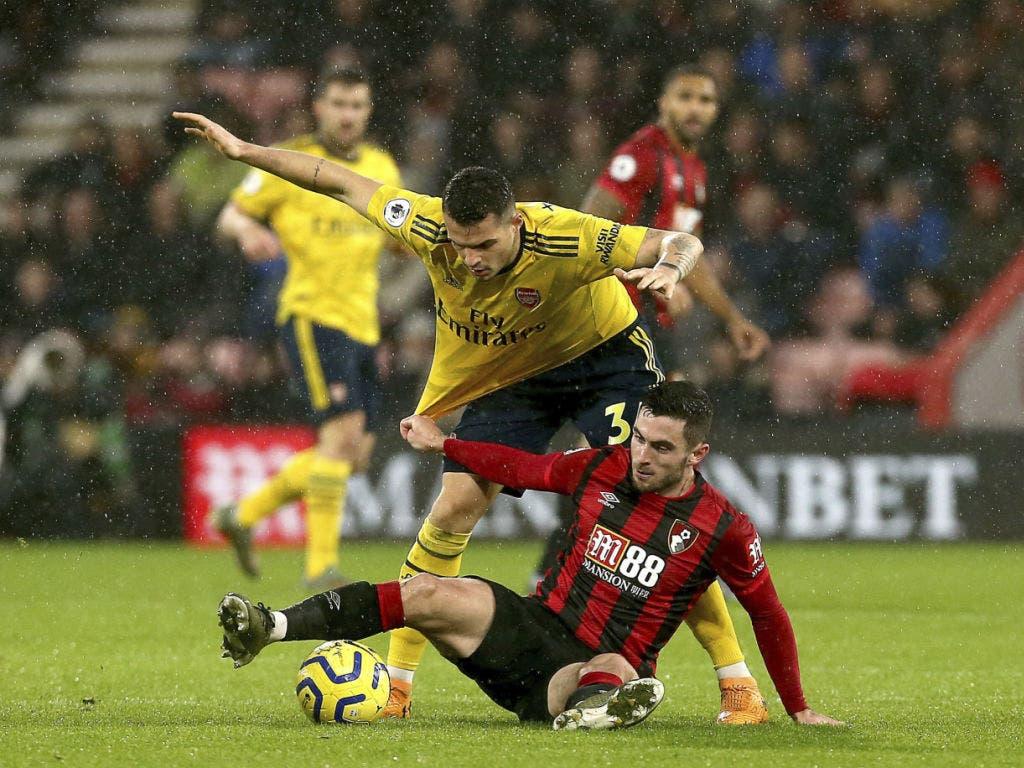 Kein Durchkommen für Granit Xhaka (gelb) und Arsenal gegen Bournemouth