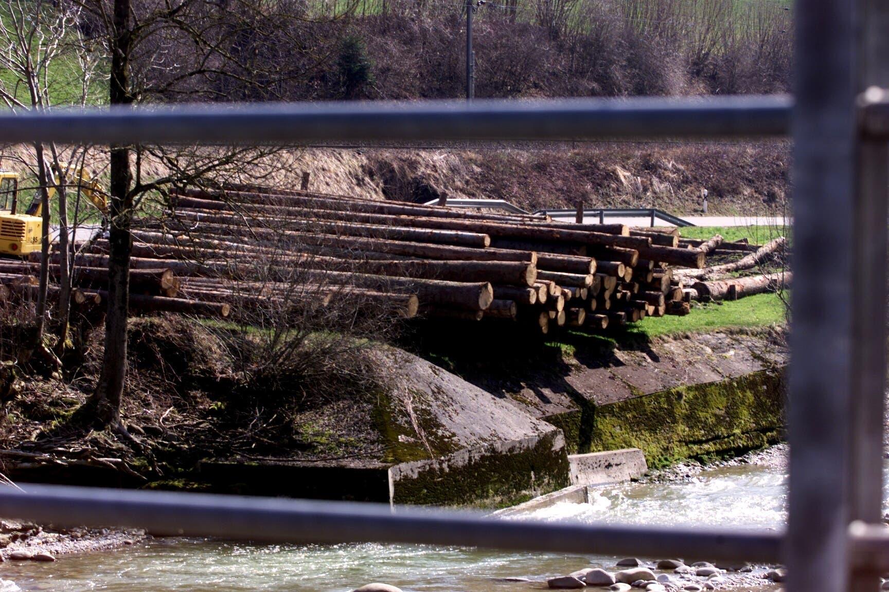 Aufräumarbeiten: Am Ufer der Reuss an der Strasse nach Doppelschwand wurde ein Lager für Sturmholz errichtet.