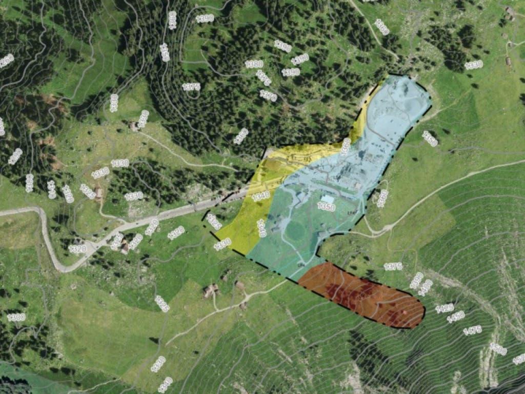 Die Gefahrenkarte für das Gebiet auf der Schwägalp. Das Hotel «Säntis» steht teilweise auf einem Gebiet mit mittlerer Lawinengefahr (blau).
