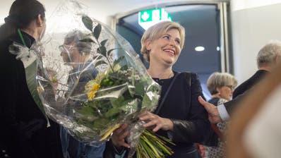 Esther Friedli (SVP) an den National- und Ständeratswahlen, am Sonntag, 20. Oktober 2019, im Pfalzkeller in St. Gallen. (Benjamin Manser)