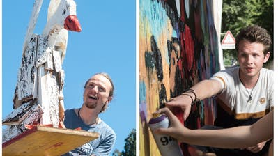Künstler Elias Zürcher hat den Burkhardt-Kreisel in Sursee mit seinen Gänsen gestaltet, während Graffitikünstler Sven Stalder sein Wissen bei einem Workshop an Kinder und Jugendliche weitergibt. (Bilder: Dominik Wunderli (Sursee, 23. Juli und 11. August 2019))