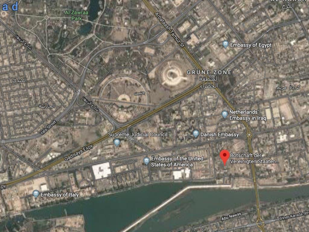 In der besonders gesicherten sogenannten «Grünen Zone» im Stadtzentrum von Bagdad befinden sich zahlreiche Ministerien und Botschaften.