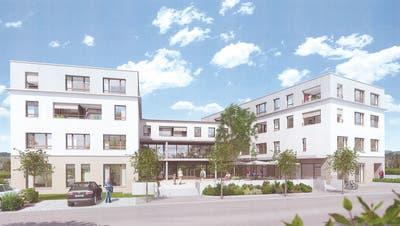 Die Visualisierung zeigt die Ansicht der geplanten Überbauung von der Poststrasse her. ((Bild: PD))
