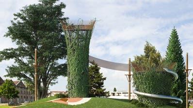 Visualisierung des Abenteuerspielplatzes mit zwei begrünten Aussichtstürmen. (PD)