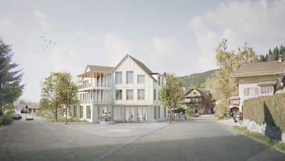 So soll das Mehrzweckgebäude in Alosen dereinst aussehen. (Visualisierung: PD)