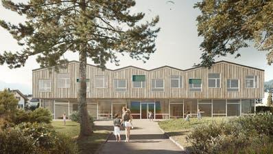 So soll sich das neue Alpnacher Kindergartengebäude von der Kleinen Schliere her gesehen präsentieren. (Visualisierung: PD)