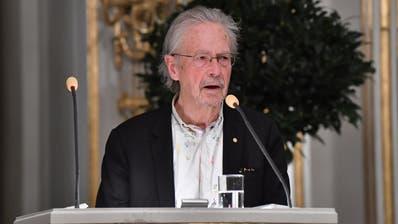Peter Handke während seiner Nobelpreisrede am Samstag, 7. Dezember 2019. (Foto: Jonas Ekstroemer, EPA)