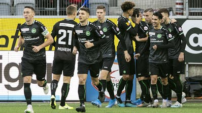 St.Galler Torjubel über Boris Babic' Treffer zum 1:0. (Bild: Keystone) (Bild: Stephanie Martina)
