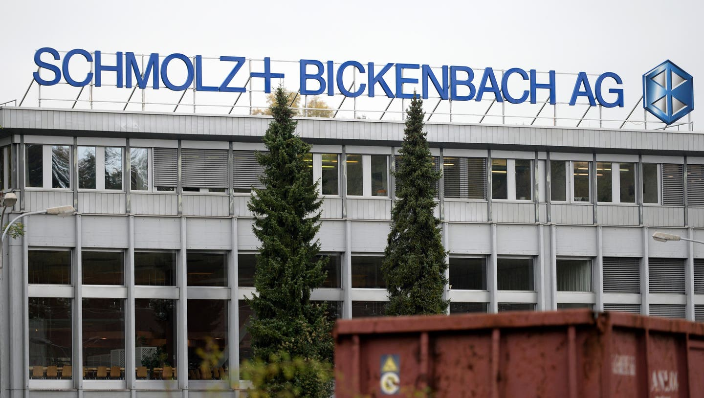 Logo des Stahlkonzerns Schmolz + Bickenbach am Standort im Emmenbrücke. ((Bild: Urs Flüeler/Keystone, 27. Oktober 2014))