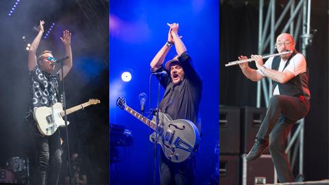 Unter anderem diese drei Frontmänner stehen 2020 am Summerdays-Festival auf der Bühne: Stefan Buch (Hecht), Büne Huber (Patent Ochsner) und Ian Anderson (Jethro Tull). ((Bilder: Ralph Ribi / Urs Bucher / Urs Bucher))