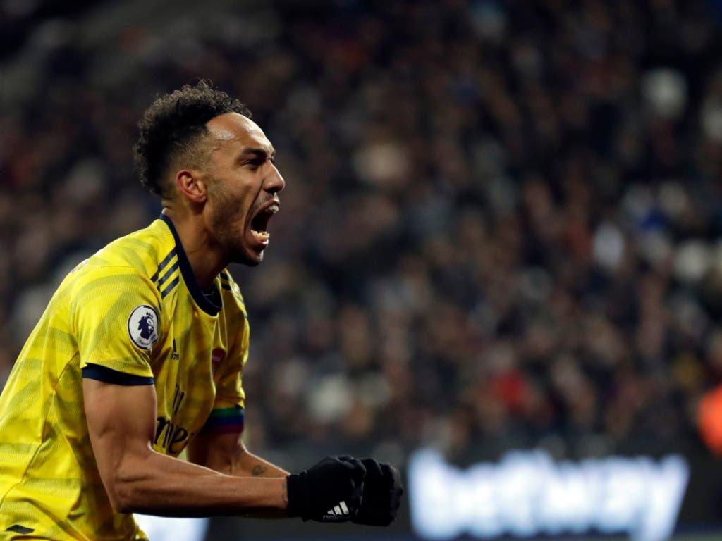 Gross die Erleichterung bei Arsenals Captain Pierre-Emerick Aubameyang: Das 3:1 bei West Ham United genügt zum ersten Meisterschaftssieg seit Oktober