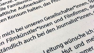 In einem Grusswort zur Berlinale sind mehrmals Gendersternchen zu sehen. (Bild: Jörg Carstensen/Keystone (Berlin, 29. Januar 2019)