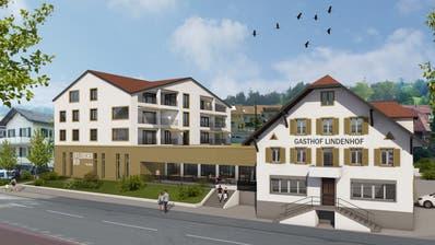 So soll der Lindenhof dereinst aussehen – links der Neubau mit Brauerei. (Visualisierung: Baumeler Partner AG)