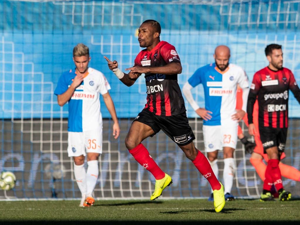 Geoffroy Serey Die schoss gegen die Grasshoppers seinen ersten Treffer für Neuchâtel Xamax (Bild: KEYSTONE/ENNIO LEANZA)