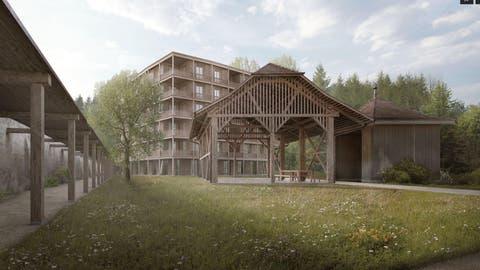 So soll die Überbauung beim Kloster Wesemlin aussehen. Visualisierung: PD/Marques Architekten