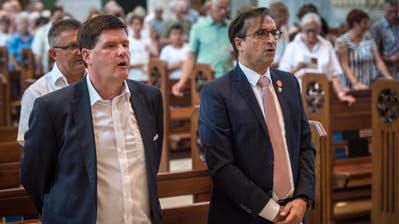 FDP-Nationalrat Hansjörg Brunner und Kantonalpräsident David H. Bon an der Bundesfeier 2018 in der katholischen Kirche Romanshorn. (Bild: Reto Martin)