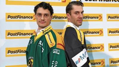 Topskorer unter sich: Thurgaus Cody Wydo (links) und Ajoies Philip-MichaelDevosstehen sich im Playoff-Viertelfinal gegenüber. (Bild: Matthias Hafen)