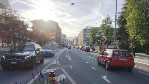 Die Luzernerstrasse in Kriens im Gebiet Hofmatt-Bellpark: Hier soll künftig Tempo 30 gelten. (Bild: PD)