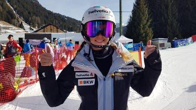 Aline Danioth holte an der Junioren-WM Silber, hier im Slalom von Are. (Bild: Christian Bruna / EPA)