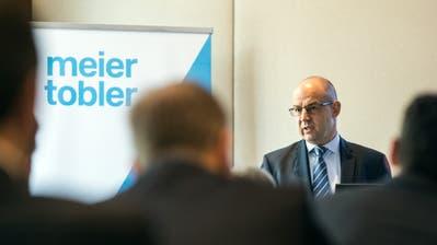Matthias Ryser, CFO, spricht an der Bilanzmedienkonferenz von Meier Tobler. (Bild: KEYSTONE/Alexandra Wey, Zürich, 21. Februar 2019)