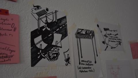 Skizzen und Notizen schmücken derzeit die Wände im künftigen Ausstellungsraum des «Rathauses für Kultur» in Lichtensteig. (Bild: Anina Rütsche)