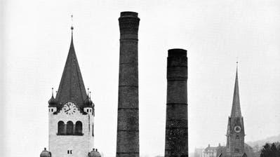 Kamin auf dem Feldmühle-Areal. (Bild. Archiv Tagblatt)