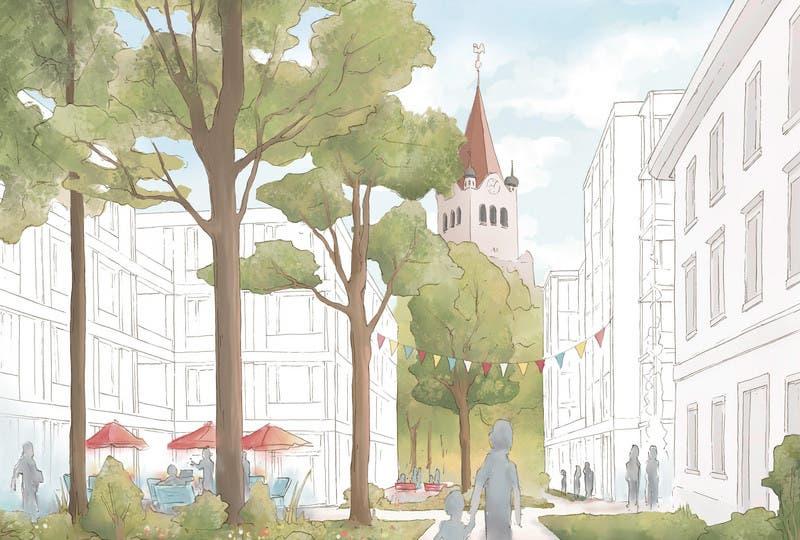 Gassen sollen den Blick auf die Evangelische Kirche freigeben. (Bild: PD)