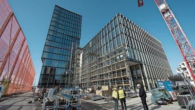 Das Hochhaus ist mit 60 Metern das höchste massgeblich aus Holz gefertigte der Schweiz. Damit verbunden ist das sechsstöckige Gebäude des neuen Campus' der Hochschule Luzern. (Bild: Maria Schmid, Rotkreuz, 21. Februar 2019)