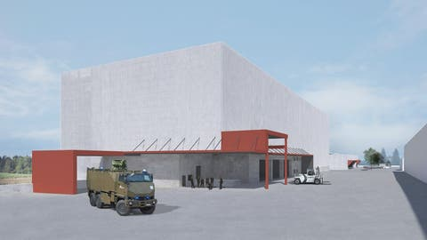 So soll der neue Container-Stützpunkt in Emmen aussehen. (Visualisierungen: PD/VBS)