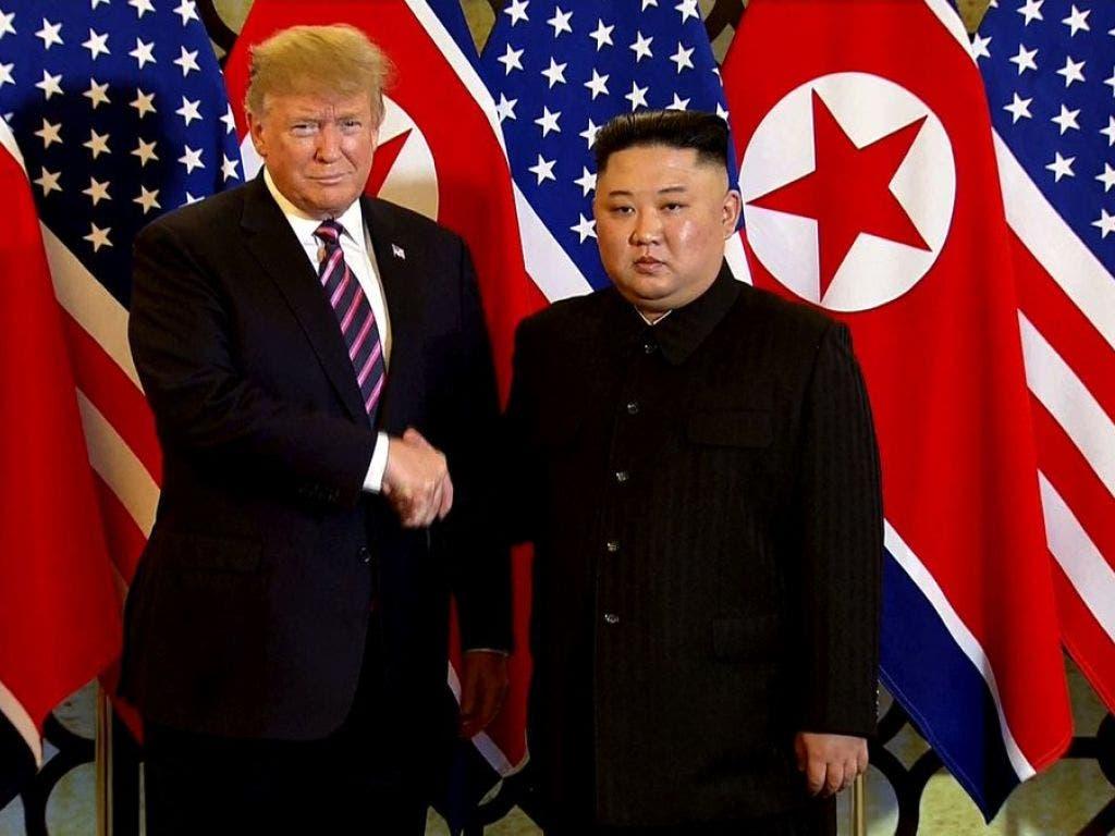 US-Präsident Trump trifft den nordkoreanischen Machthaber Kim zum zweiten Mal persönlich in Hanoi. (Bild: Keystone/AP Host Broadcast/210056+0900)