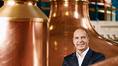 Thomas Amstutz, CEO von Feldschlösschen, in deren Sudhaus in Rheinfelden. Bild: Christian Beutler/Keystone (19. August 2016)