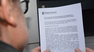 Der Gemeinderat Wagenhausen wehrt sich mit einem Flugblatt gegen die Vorwürfe von Pierre Kohler.(Bild: Rahel Haag)