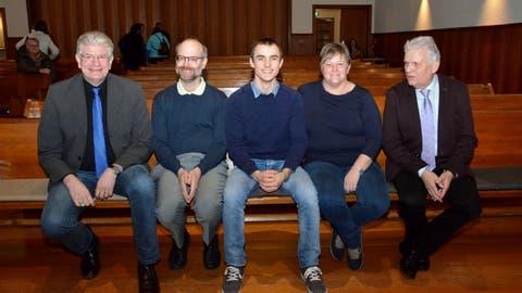 Das Team der Evangelischen Kirchgemeinde Münchwilen Eschlikon: Uwe John und David Lerch (Pfarrer), Remo Rüegg (neuer TDS-Praktikant), Edith Rohrer Hess (Sozialdiakonin) und Heinrich Krauer (Präsident). (Bild: Christoph Heer)