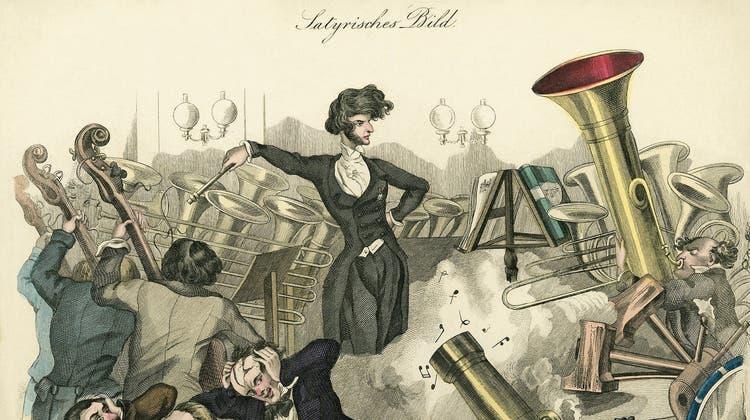 Hector Berlioz war auch ein willkommenes Sujet für die Karikaturisten seiner Zeit. Dieser Kupferstich aus der Wiener Theaterzeitung zeigt «ein Konzert im Jahre 1846» - bei dem sich die Zuhörer die Ohren zuhalten. (Bild: Keystone)