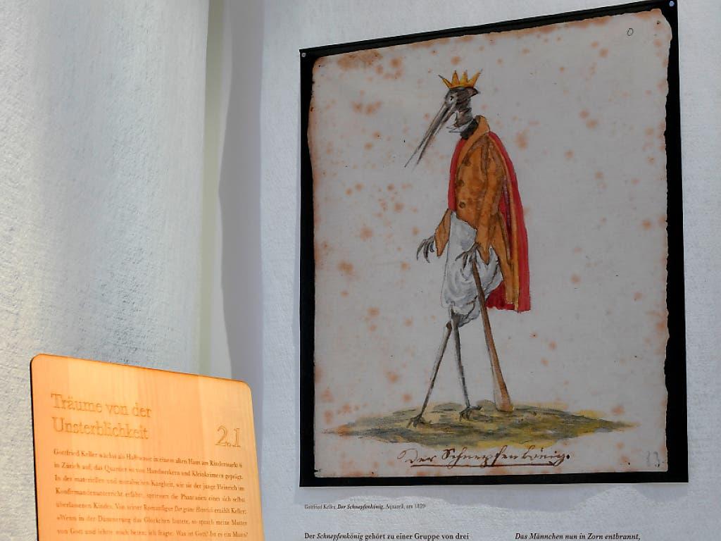 Die Ausstellung im Strauhof legt dar, wie Traum und Phantasie Kellers poetische Inspiration beflügelten. (KEYSTONE/Walter Bieri) (Bild: KEYSTONE/WALTER BIERI)